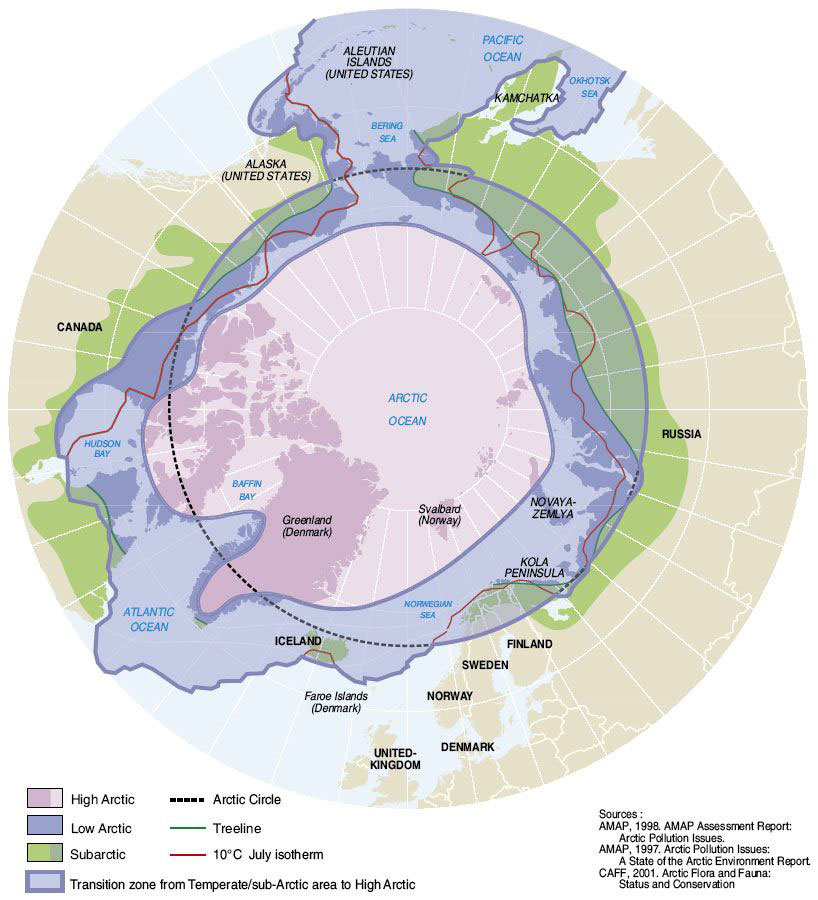 Map explaining the different Arctic regions