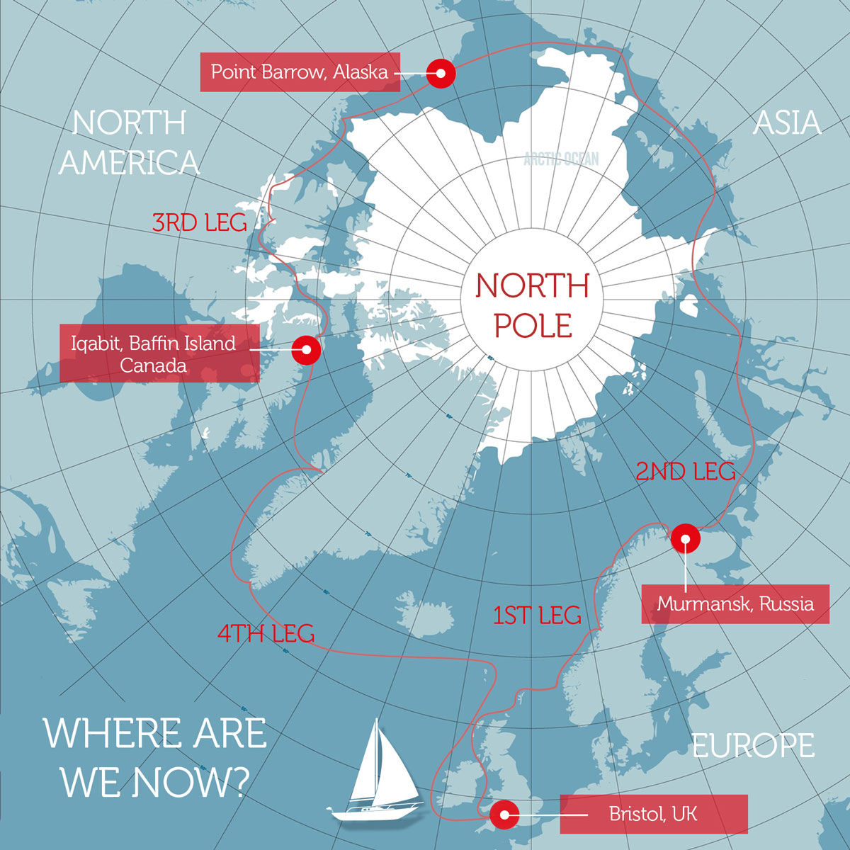 Route map of The Polar Ocean Challenge